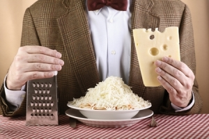 nerd cheese lover on brown background _ horizontal